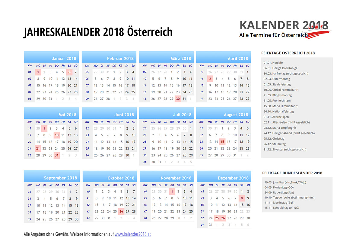 kalender 2018 sterreich. Black Bedroom Furniture Sets. Home Design Ideas